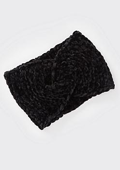 Black Chenille Twist Headwrap