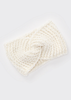 Ivory Chenille Twist Headwrap
