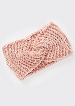 Pink Chenille Twist Headwrap