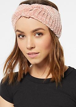 Pink Twist Front Chenille Headwrap