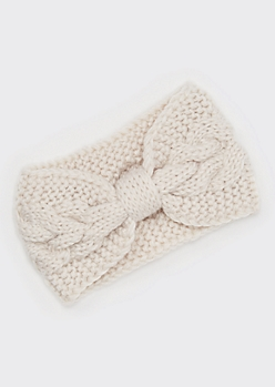 Cream Bow Ear Warmer Headband