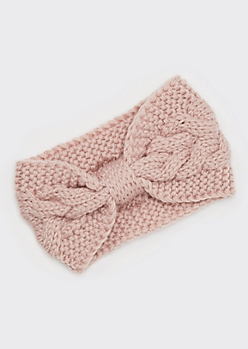 Pink Bow Ear Warmer Headband