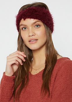 Burgundy Twist Front Eyelash Knit Headwrap