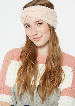 Pink Twist Front Eyelash Knit Headwrap