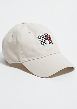 Sand MTV Checkered Print Twill Dad Hat