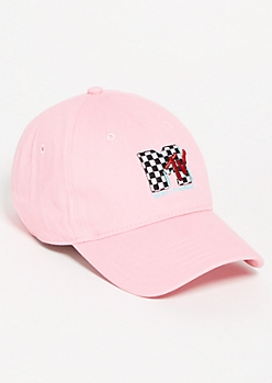 Pink MTV Checkered Print Twill Dad Hat