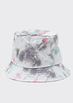 Gray Tie Dye Bucket Hat