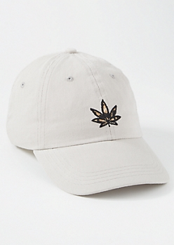 Taupe Leopard Print Weed Embroidered Dad Hat