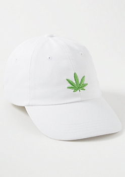 White Embroidered Weed Print Dad Hat