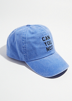 Washed Blue Twill Can You Not Dad Hat