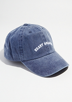 Washed Navy Twill Heart Breaker Dad Hat