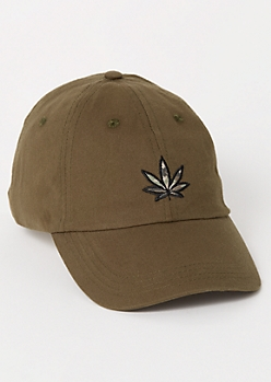 Olive Camo Print Weed Embroidered Dad Hat