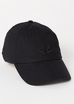 Black Weed Embroidered Dad Hat