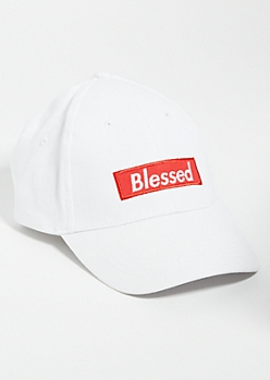 White Blessed Graphic Dad Hat