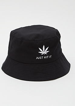 Black Weed Print Just Hit It Bucket Hat