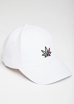 White Tie Dye Weed Print Dad Hat