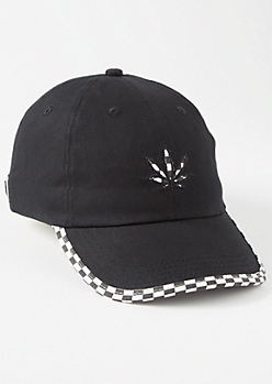 Black Checkerboard Weed Print Dad Hat