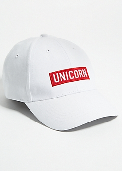White Unicorn Logo Box Dad Hat