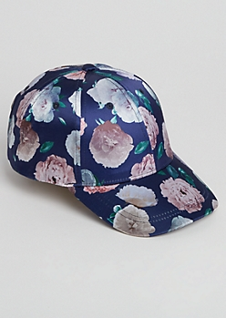 Blue Floral Satin Dad Hat