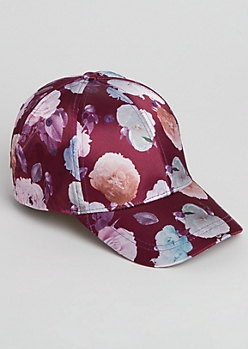 Burgundy Floral Satin Dad Hat