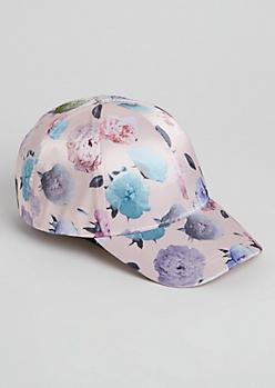 Pink Floral Satin Dad Hat