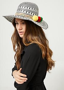 Woven Multi Pom Sun Hat