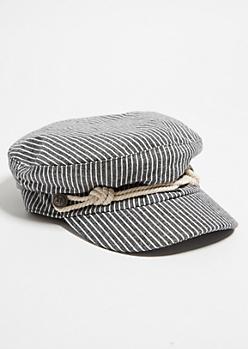 Black Striped Pattern Nautical Cabby Hat