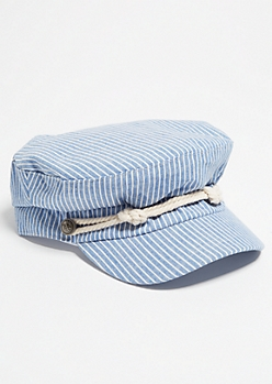 Blue Striped Pattern Nautical Cabby Hat