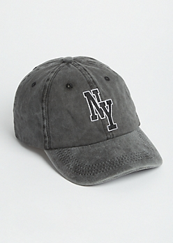 Washed Black NY Dad Hat