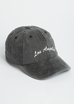 Washed Black Los Angeles Dad Hat