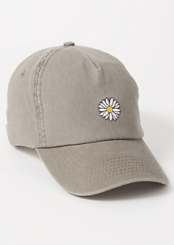 Gray Daisy Embroidered Dad Hat