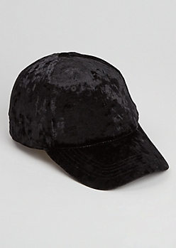 Black Velour Dad Hat