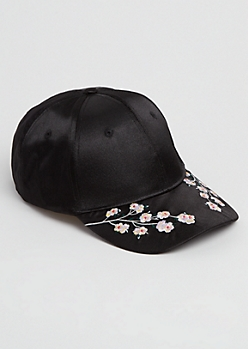 Embroidered Cherry Blossom Dad Hat