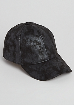 Black Crackled Dad Hat