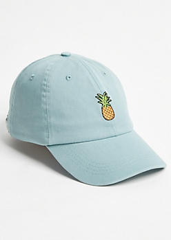 Turquoise Pineapple Twill Dad Hat