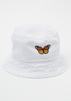 White Butterfly Embroidered Bucket Hat