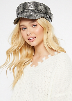 Snakeskin Print Faux Leather Cabby Hat