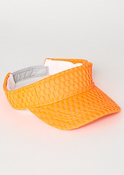 Neon Orange Mesh Knit Visor