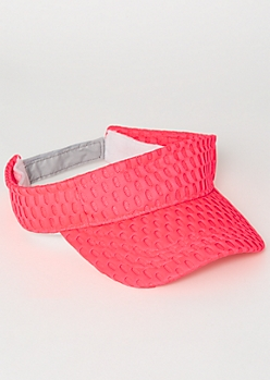 Neon Pink Mesh Knit Visor