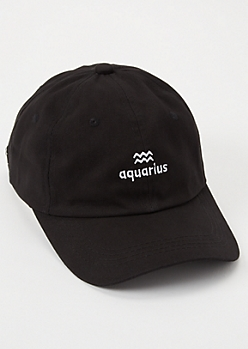 Black Aquarius Embroidered Dad Hat