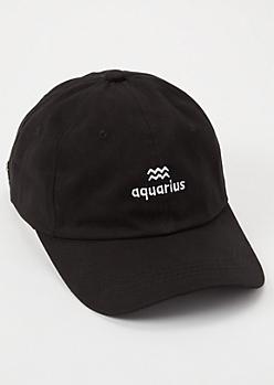 Black Aquarius Embroidered Dad Hat