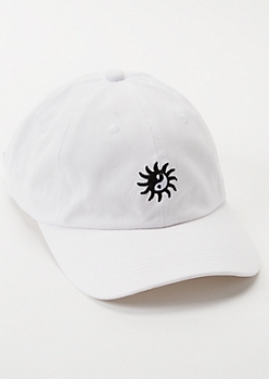 White Yin Yang Sun Embroidered Dad Hat