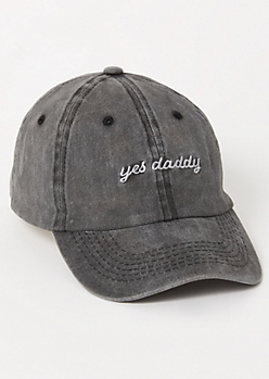 Gray Yes Daddy Embroidered Dad Hat