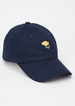 Navy Rose Embroidered Dad Hat