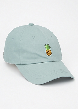 Mint Pineapple Embroidered Dad Hat