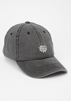 Washed Black Sunflower Embroidered Dad Hat