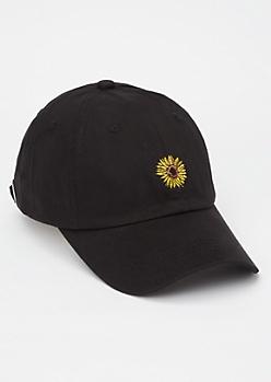 Black Sunflower Embroidered Dad Hat