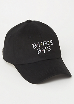 Black Dot Print Bye Twill Dad Hat