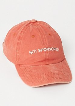 Burnt Red Not Sponsored Embroidered Hat
