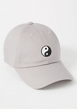 Gray Yin Yang Embroidered Dad Hat